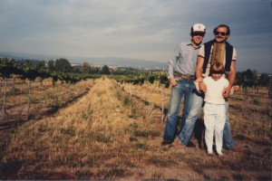 Tom Huggins, Jim Huggins, Kylie Huggins, Oak Grove Vineyards, 1985