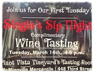 Single's Sip Night and First Tuesday @ Pinot Vista Tasting Lounge | McMinnville | Oregon | United States