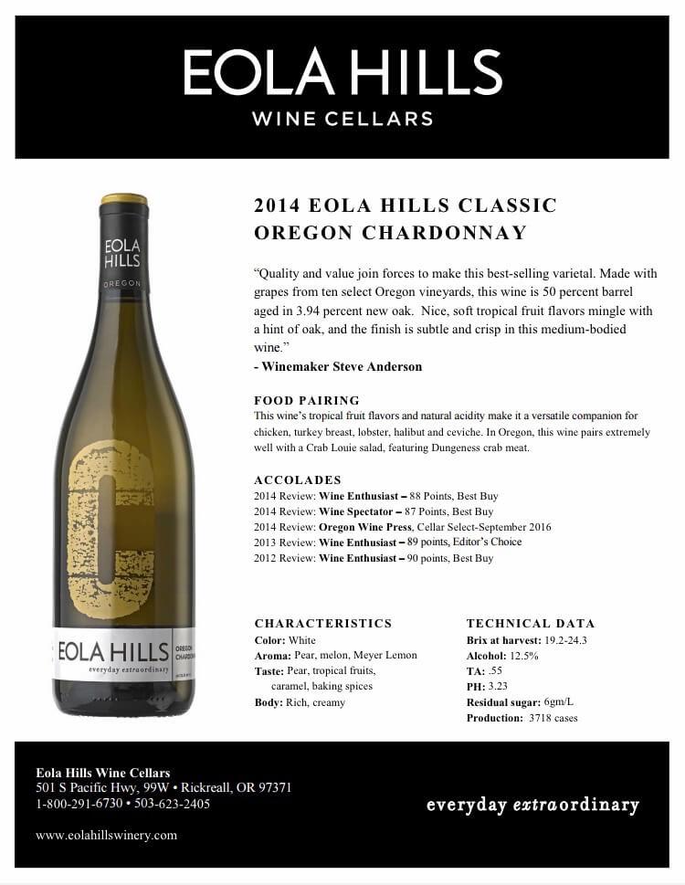 Chardonnay-2014 - Eola Hills